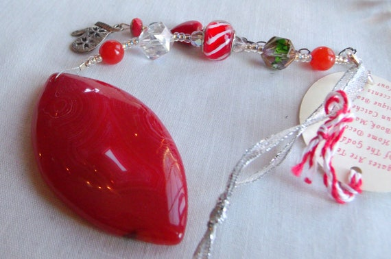 Christmas ornament - red agate - candy cane beads - silver mitten charms - heart decor ideas - natural tree ornament - Lizporiginals