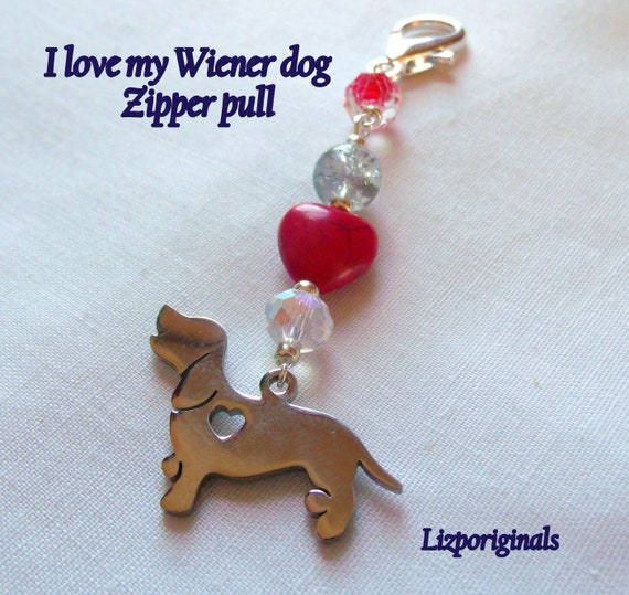 Dachshund zipper pull - small puppy charm gift -  i love my dog - large dog charm - black white zipper pulls - charming wiener dog  gift