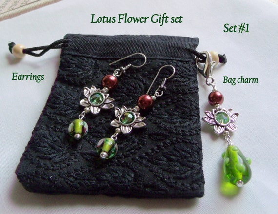 Zen gift set - green yoga bag charms - Spa gifts for mom - Namaste - Tranquility journal clip - Lotus flower earrings - Pearl zipper pull