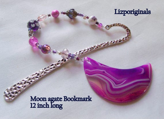 Pink gemstone bookmark - dragon vein agate - mermaid page marker -  moon - teen girl gift - reading accessory - book club gift - mothersday