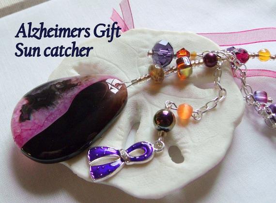 Alzheimers support gift  - gemstone pendant - purple ribbon - awareness - Alzheimer memento -  agate Sun catcher - for the cure - ornament