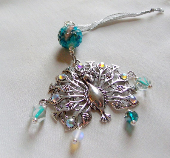 aqua peacock holiday gift - Christmas ornament - exotic tree hangers - large peacock charm - rhinestone bird - bird lovers gift