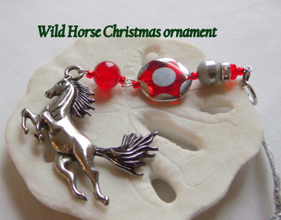 Wild Horse ornament - country living - Equestrian club gift - girls riding gift - Horse lover memento - black wild stallion - Christmas