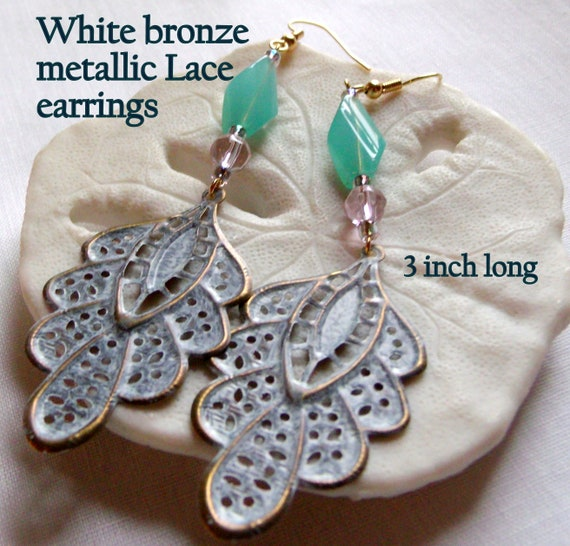 White patina lace metal earrings - charming nature jewelry - leaf earrings - lightweight earrings - aqua glass - filigree openwork