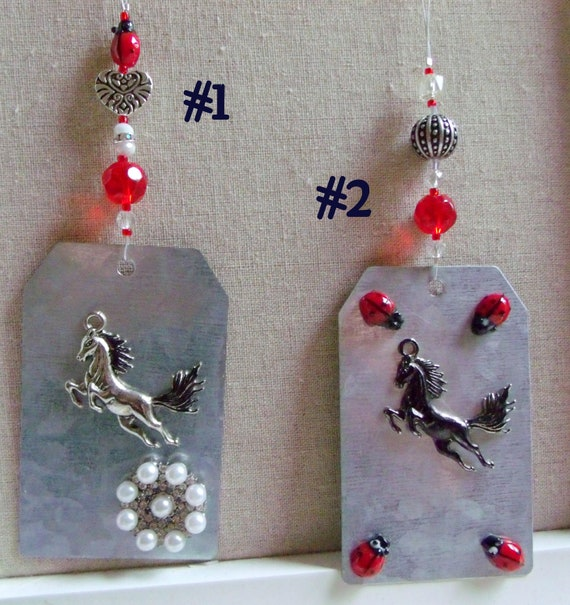 metal horse gift tag - Southwest Horse ornament -  country cottage chic - wild horse charm - stallion - mustang holiday gift - Bronco