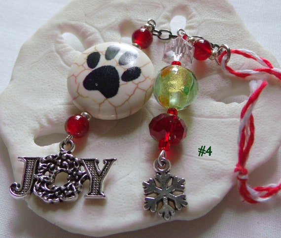 Pet christmas ornament - paw bead decor - mini christmas tree ornament - red crystal - puppy - cat ornament -  I love my pet - Lizporiginals