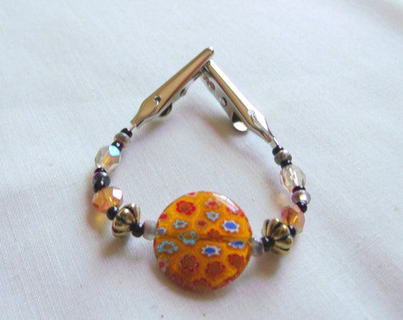Art inspired scarf clip - millefiori glass round -  fall colors - shawl pin - sweater guard - 6 inch long -  cardigan add on gift - wrap