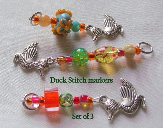 Easter basket gift ideas - spring stitch markers - place marker - orange duck zipper pulls -  Quilting bee -  Knitting group gift - Set of 3