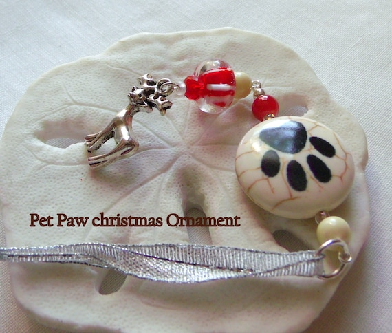 Paw  Pet Christmas gift - holiday ornament - Charming tree decor  - for cats and dogs - I love my pet - stocking stuffer - Lizporiginals