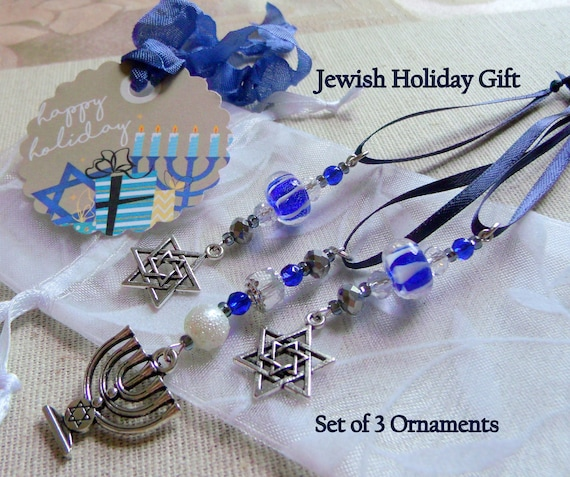Hanukkah ornaments - gift bag add on - blue/white glass  - Jewish Holiday - star of David - set of 3 - Menorah Jewish design - Lizporiginals