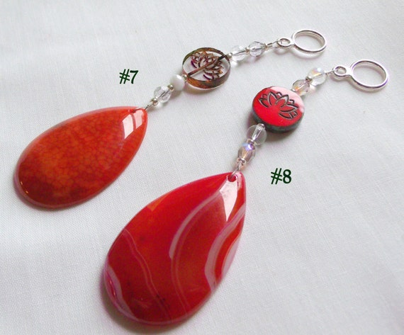 Yoga group gifts - Agate pocket stone - worry stone -  car charm -  lotus beaded Zen charms - worry gems - Namaste - Wellness Gift
