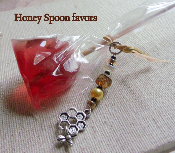 Bee charm accessory - honeycomb stitch markers - honey colored beaded gift  - honey favors - set of 5 charms - Beekeepers - for gift bags