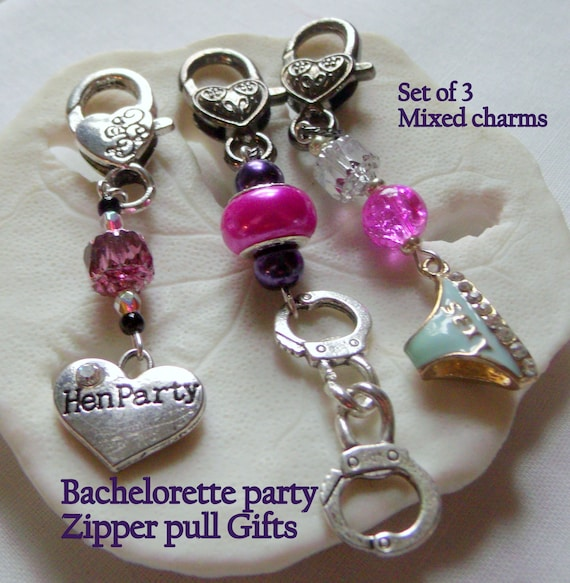 Naughty Bachelorette favors - Bachelorette party - set of 3 charms -  Naughty panties - Bachelorette party essentials - sexy zipper pull