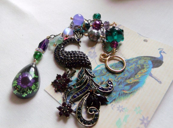 Peacock sun catcher - rhinestone teal peacock - car charm - exotic bird - aqua purple beaded peacock - unique gift  set - hanging bird