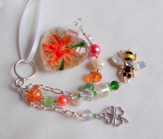 Glass flower heart window charm - sun catcher - spring summer ornament - orange Murano glass heart - bee - good luck shamrock - love gift
