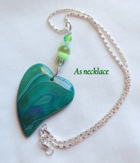 Take care gift set - agate necklace - green sun catcher - fidget stone - unique pendants - heart bag charm - stress support - OCD - anxiety
