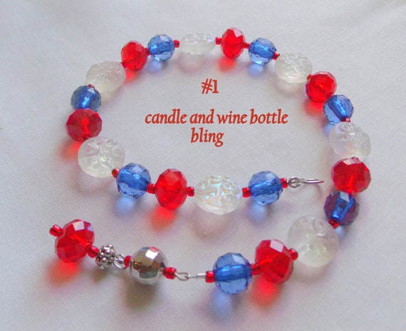 Americana candle rings - Patriotic bling - Red blue garland -  Pillar candles - US army - summer wine bottle charm - candle accessory gift