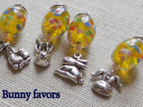 Yellow dot Bunny favors - Easter party - Spring ornaments - Knitting crochet stitch markers - flower basket - bright party bunny charms -