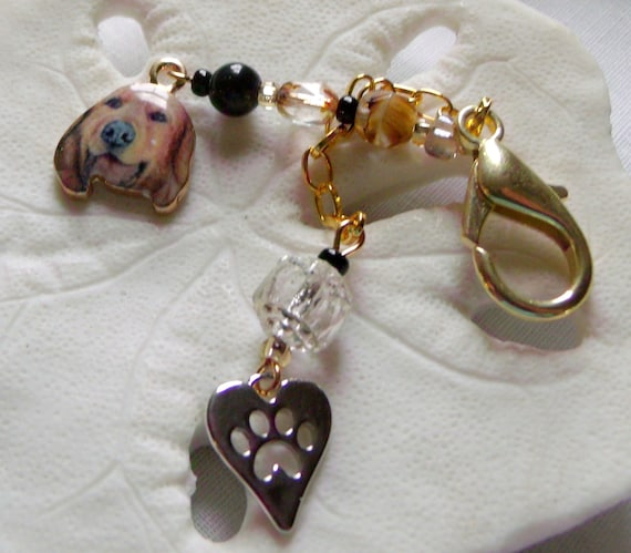 Golden retriver bag charm - dog zipper pull - travel carrier charm - paw print gift - for dog lovers - dog tassel clip - Lizporiginals