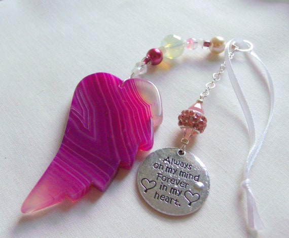 Custom sympathy gift - angel wing car charm - Always in my heart -  favorite grandmother - funeral memento - cremation box - mourning gift