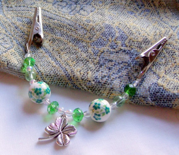 Spring scarf clip - Sweater guard - St Patrick's day gift - cardigan clip - flower shamrock shawl pin - good luck charm - green crystals