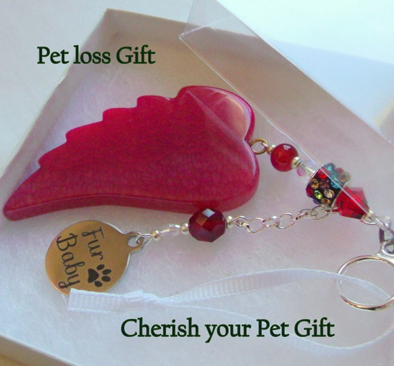 Pet loss gift - red wing ornament - agate pendant - angel wing -  Pet sympathy gift - dog loss - window ornament - fur baby memento