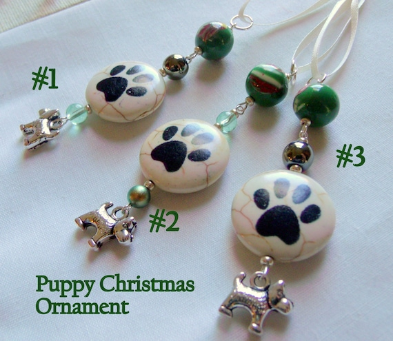 Dog Christmas ornaments - dog paw holiday gift - green beaded tree decor - small dog  car window charm - cottage home  - I love my puppy