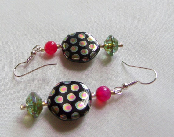 Metallic disk earrings - summer fun - statement jewelry - green and black swirl - green pink dot beads - cruise ship and vacation wear