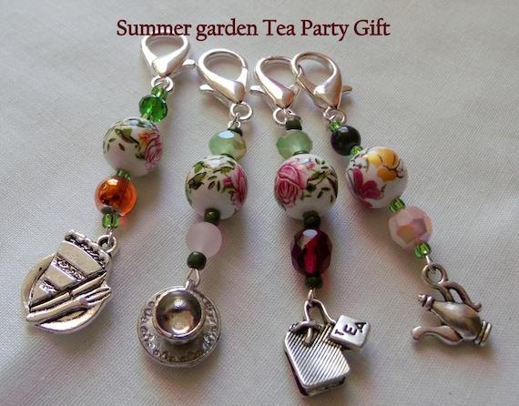 Tea Party Zipper pull - garden party  - English tea time - pink garden favors - Tea cup charms - set of 5 - Tea party favors - Birthday