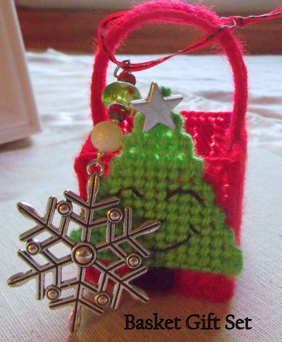 Red basket gift set - snowflake tree ornament -  Christmas tree - holiday - 2 piece set -  silver star - senior secret Santa gift - women