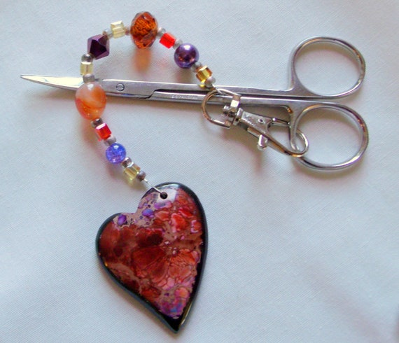 Quilting group gift - scissor minder - gemstone hearts - sewing circle gifts - scissor fob - beaded crystal bag clips - project bag charms