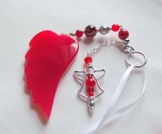 Lab professional week - angel gift - medical laboratory - Pathology - red wing car charm - for lab techs - phlebotomist - blood tests