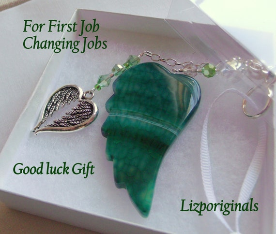 Custom new job gift for her - celebrate promotion - career day - changing job good luck charm -  green wing  - First job - unisex gift