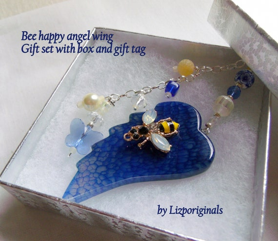 Custom bee wing ornament - car charm - gardeners gift - blue angel wing - bee happy - personalize - blue glass butterfly - box gift set
