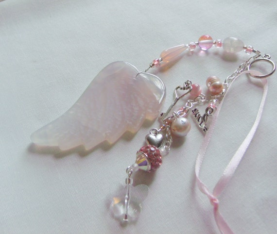 Mothers day gift - personalized angel wing - for mom from kids - beloved wife - stepmother - expectant mom - pink heart charm - nana gift