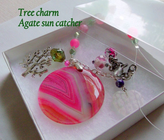 Pink stone sun catcher - agate car charm - tree and heart gift - patio art - garden pendant - window ornament - gift for student dorm