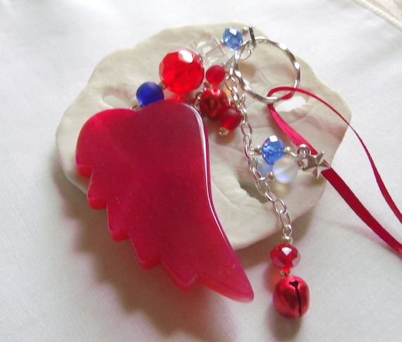 Red white and blue wing ornament - 4th of July decor - car charm - bless the USA - military farewell gift - window pendant - patriotic