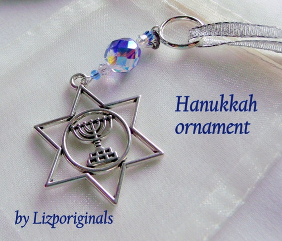 Menorah Ornament - star of David charm - blue Hanukkah gift - Jewish home decorations - party gifts - Judaica - festive Hanukkah gift set