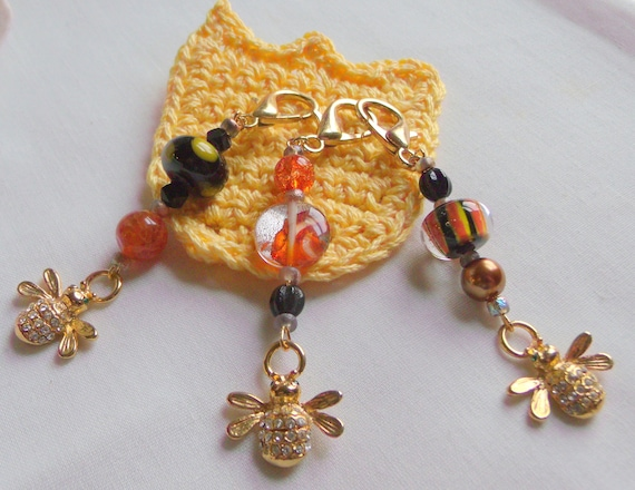 I love bees Zipper pull - Bee charms - bee keepers gifts - for the friend of bees - honey colored journal charm - orange  bee gifts