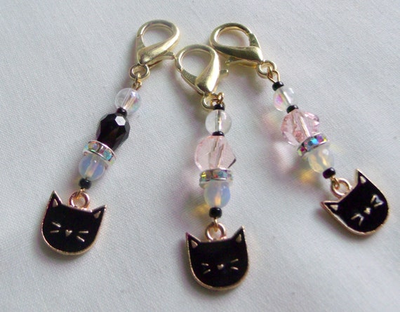 Black cat zipper pull - journal charm for cat lovers - cat club gift - for kitty mommy - black cat gifts - Cat face clip - Lizporiginals