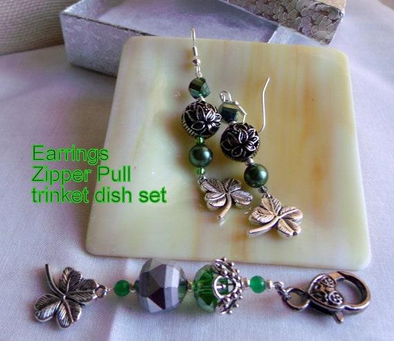 Good luck gift set - St Patrick's day - Shamrock charm earrings -  Irish gift - shamrock zipper pull - green tote bag clip - glass dish set