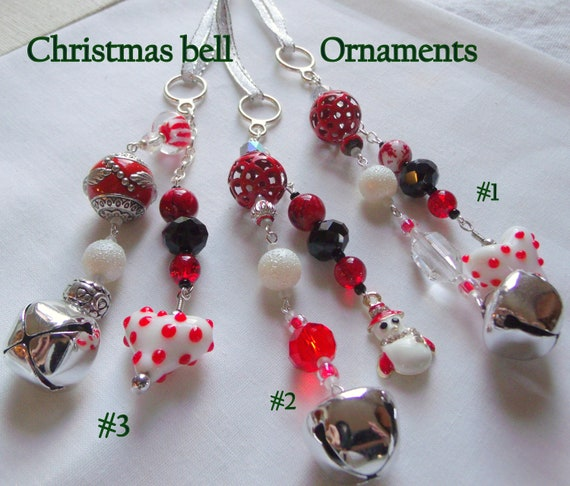 Beaded Christmas ornaments handmade -  heart  - Snowman  - glass Christmas tree hangers - bell charm tree decorations - gift for bus driver