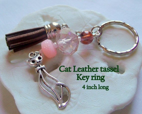 Cat leather tassel key ring - cat zipper pull -- colorful tassels - pink cat key ring - for cat lovers - chunky cat accessory - bag charm