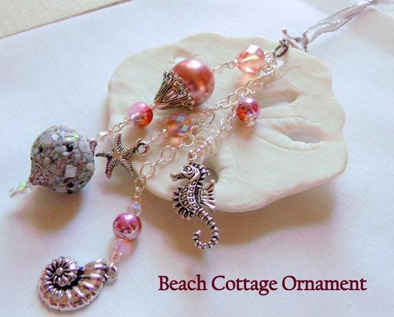 Beach wedding favors - Seahorse tassel gift  - peach crystal hangers - starfish home decor - Shell wedding gift - Cottage Christmas ornament