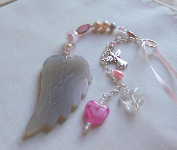 Loss of baby girl gift - grieving memento - car charm - window pendant - agate wing - angel charm - always in my heart - funeral memory