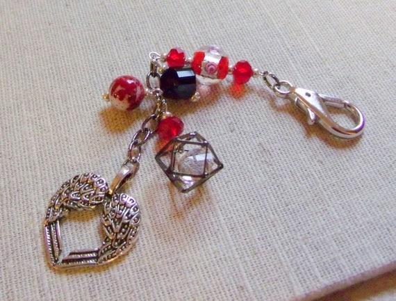 Cherish your Mom gift - silver wing zipper pull -  Gift box set - Valentine -  red zipper pull -  Anniversary gift -  Sweetheart keepsake