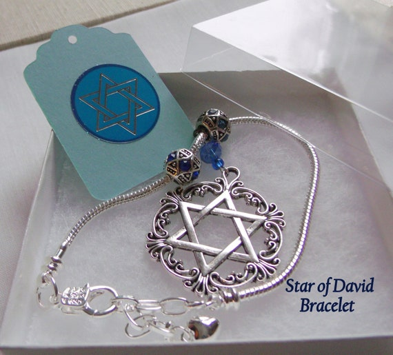 Silver Star of David charm Bracelet - 7 inch with adjuster chain - blue judaica memento - Hanukkah gift for women - Stand for Israel