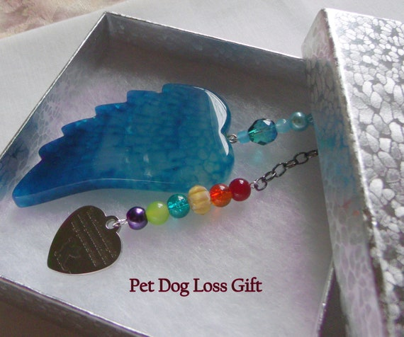 Pet loss gift - aqua wing ornament - agate pendant - angel wing - Pet sympathy gift - dog loss - window ornament - fur baby memento