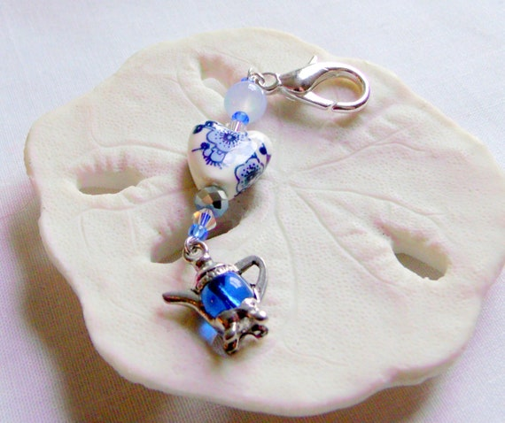 I love tea zipper pulls - tea party  gifts - keepsake - English high tea - garden party - silver blue tea pot  charm - ceramic floral heart