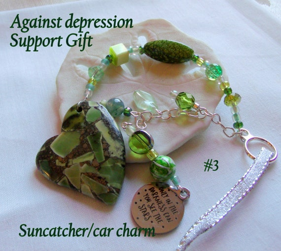 Depression support gift  - for good mental health  - out of darkness - OCD hope  - window ornament - car charm -  green heart sun catcher